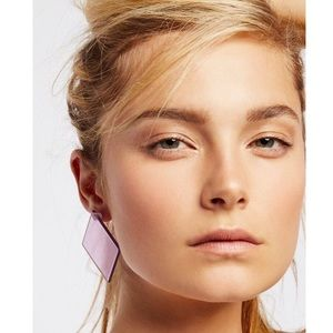 NEW Free People Lucite Mega Earrings Square Pink